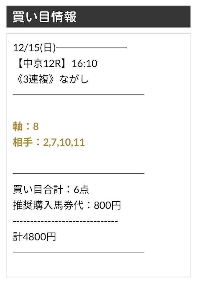 ユニコーン12月15日の無料予想