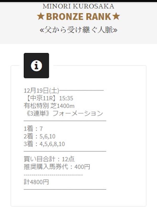 JHA(ジャパンホースマンオールスターズ)の2020年12月19日の有料予想黒坂みのり