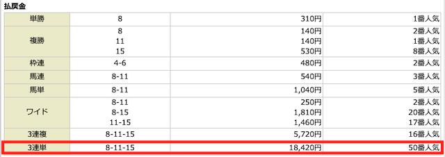 騏驎2021年4月18日穴熊の2レース目結果